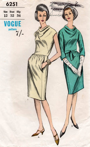 Cowl Neck Evening Dress with Pockets 1960s Vintage Sewing Pattern Size 12 Bust 32 Inches