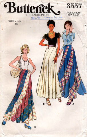 Butterick 3557 Womens Bias Maxi Swirl Skirt 1970s Vintage Sewing Pattern Size 14 Waist 28 Inches UNCUT Factory Folded