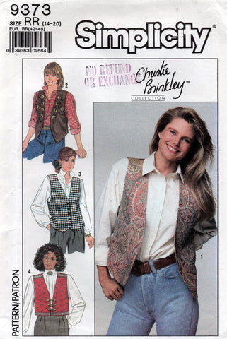 Simplicity 9373 CHRISTEY BRINKLEY Womens Lined Vests with Trim 1980s Vintage Sewing Pattern Size 14 - 20 UNCUT Factory Folds