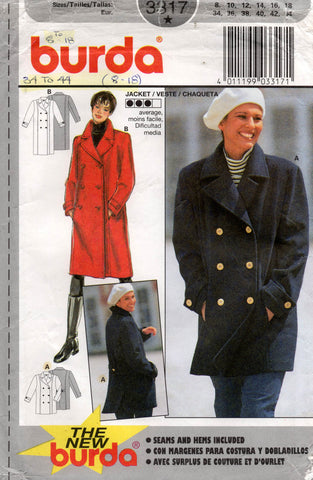 Burda 3317 Womens Double Breasted Lined Coat & Jacket 1990s Vintage Sewing Pattern Sizes 8 - 18 UNCUT Factory Folded