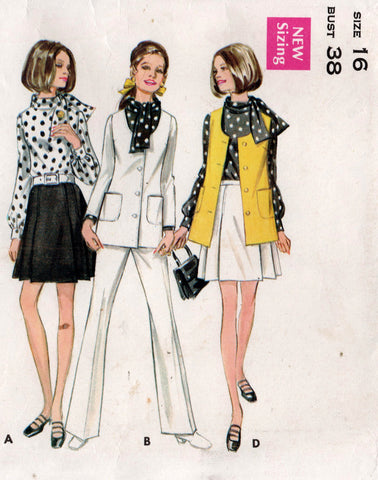 Butterick 5683 Womens Jacket Blouse Pants & Pleated Skirt 1960s Vintage Sewing Pattern Size 16 Bust 38 inches UNCUT Factory Folded