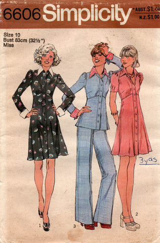 Simplicity 6606 Womens Empire Waisted Mini Dress Top & Pants 1970s Vintage Sewing Pattern Size 10 UNCUT Factory Folded