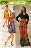 Simplicity 9709 Womens Designer Wrap Bodice Dress 1970s Vintage Sewing Pattern Size 10 or 14
