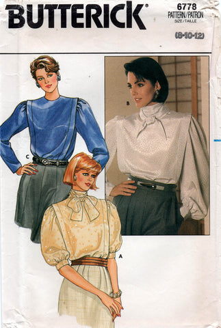 Butterick 6778 Womens Flanged Big Sleeve Blouses 1980s Vintage Sewing Pattern Size 8 - 12