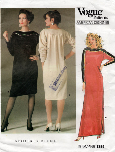 Vogue American Designer 1389 GEOFFREY BEENE Womens Dolman Sleeved Dress 1980s Vintage Sewing Pattern Size 12 or 16