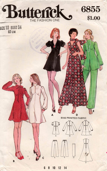 Butterick 6855 Womens High Waisted Puff Sleeved Dress Tunic Pants & Scarf 1970s Vintage Sewing Pattern Size 12
