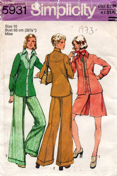 Simplicity 5931 Womens Shirt Culottes & Flared Pants 1970s Vintage Sewing Pattern Size 10 UNCUT Factory Folded