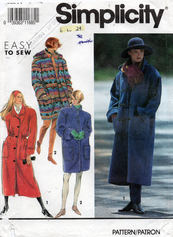 Simplicity 7457 Womens Lined Coat in 2 Lengths with Detachable Hood Size 6 - 24