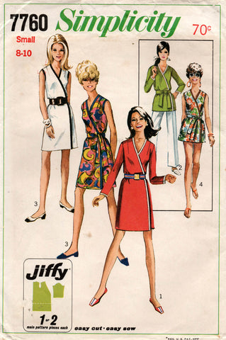 Simplicity 7760 Womens JIFFY Wrap Dress  & Top with Sash and Contrast Trim 1970s Vintage Sewing Pattern Size SMALL 8 - 10