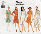 Vogue Basic Design 1612 Womens Ruffled Princess Dress 1990s Vintage Sewing Pattern Size 6 - 10