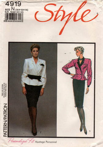 Style 4919 Womens Wrap Peplum Top & Skirt 1980s Vintage Sewing Pattern 10 - 14 UNCUT Factory Folded