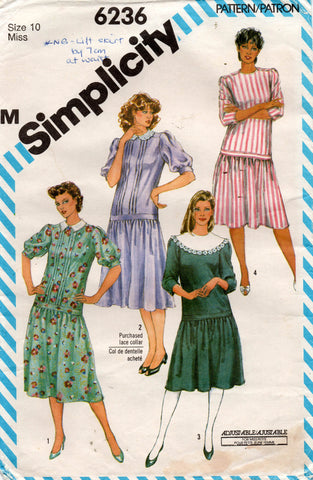 Simplicity 6236 Womens Drop Waisted Puff Sleeved Dresses 1980s Vintage Sewing Pattern Size 10