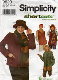 Simplicity 9820 Womens Fleece Winter Jacket Vest Scarf Hat & Headband OOP Sewing Pattern Size XS - M UNCUT Factory Folded