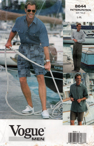 Vogue 8644 Mens Casual Shirt Shorts & Pants 1990s Vintage Sewing Pattern Size L, XL UNCUT Factory Folded