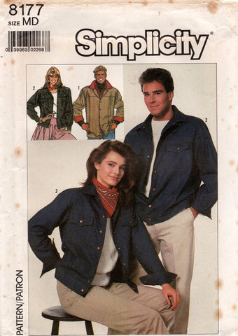 Simplicity 8177 Mens Womens Teens Classic Retro Denim Jacket 1980s Vintage Sewing Pattern Size MEDIUM UNCUT Factory Folded
