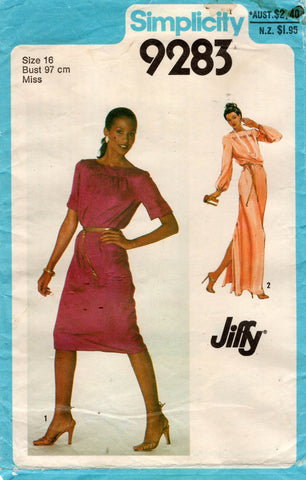 Simplicity 9283 Womens JIFFY Pullover Dress or Maxi 1970s Vintage Sewing Pattern Size 16 Bust 38 inches