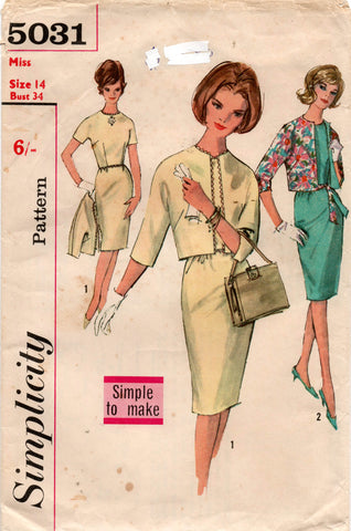 Simplicity 5031 Womens Kimono Sleeved Sheath Dress & Jacket 1960s Vintage Sewing Pattern Size 14 Bust 34 Inches UNUSED Factory Folded
