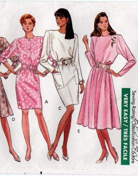 Butterick 6572 Womens Pullover Dress with Variations 1980s Vintage Sewing Pattern Size 12 - 16 UNCUT Factory Folded