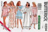 Butterick 5854 EASY Womens Square Yoked Nightgown & Sleep Shorts 1980s Vintage Sewing Pattern Sizes 6 - 14