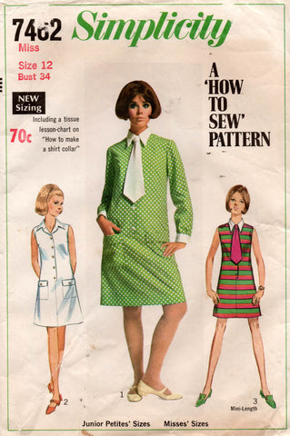 Simplicity 7462 Womens Shirtdress & Neck Tie 1960s vintage sewing Pattern Size 12 Bust 34 inches
