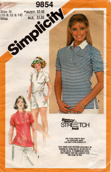 Simplicity 9854 Womens EASY Raglan Sleeved Stretch Shirts 1980s Vintage Sewing Pattern Size 10 - 14