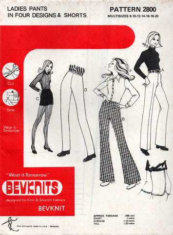 Bevknits 2800 Womens Stretch Pants & Shorts 1970s Vintage Sewing Pattern Size 8 - 20 UNCUT Factory Folded