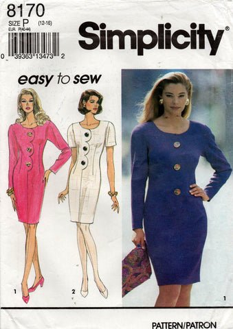 Simplicity 8170 Womens EASY Fitted Dresses with Scallop Trim 1990s Vintage Sewing Pattern Size 12 - 16