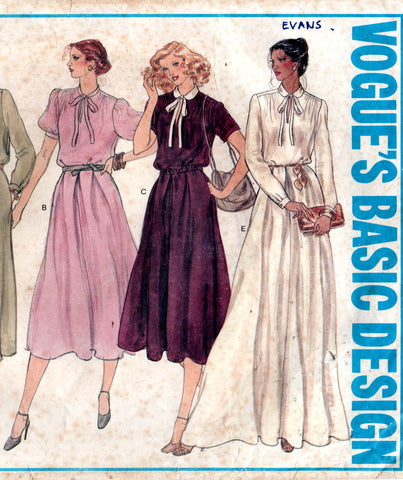 Vogue Basic Design 2032 Womens Gathered Shoulder Dress with Pockets 1970s Vintage Sewing Pattern Size 12 Bust 34 inches