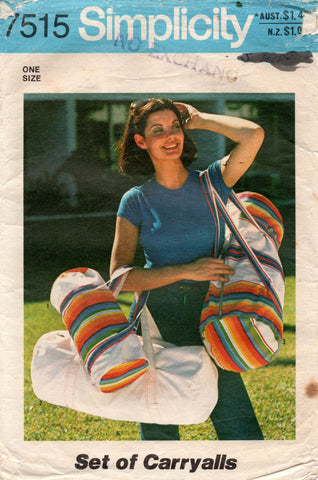 Simplicity 7515 Retro Carry Bags in 3 Sizes 1970s Vintage Sewing Pattern