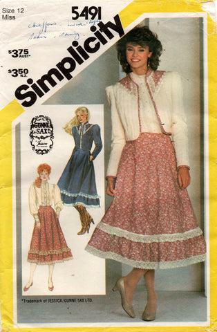 Simplicity 5491 Womens GUNNE SAX Romantic Jacket Skirt & Big Sleeved Blouse 1980s Vintage Sewing Pattern Size 12