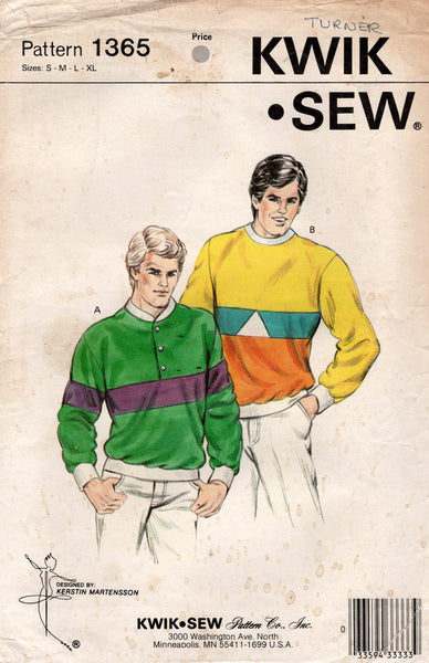 Kwik Sew 1365 Mens Stretch Color Block Sweatshirts 1980s Vintage Sewing Pattern Size S - XL UNCUT