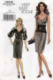 Vogue V8318 Womens Lace Midriff Dress & Jacket with Big Collar & Sleeves Out Of Print Sewing Pattern Size 6 - 12 UNCUT