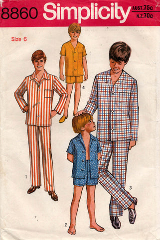 Simplicity 8860 Boys Pajamas in 2 Styles and 2 Lengths 1970s Vintage Sewing Pattern Size 6