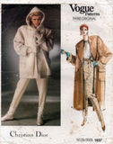 Vogue Paris Original 1637 Christian Dior Womens Wide Collar Hooded Coat & Pants 1980s Vintage Sewing Pattern Size 12 or 14