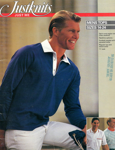 Justknits Mens Stretch Polo or Rugby Shirts 1980s Vintage Sewing Pattern Size S - XXL UNCUT Factory Folded