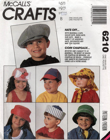 McCall's 6210 Baby Toddlers Kids Hats 1990s Vintage Sewing Pattern ONE SIZE UNCUT Factory Folded