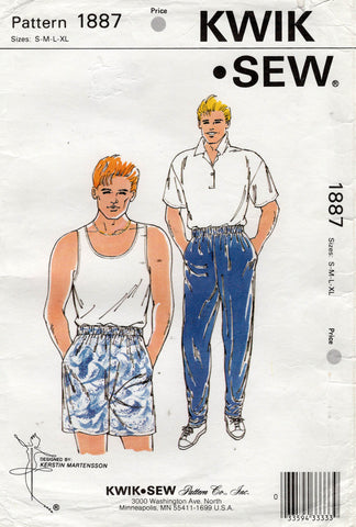 Kwik Sew 1887 Retro Mens Stretch Pants and Shorts 1980s Vintage Sewing Pattern Size S - XL UNCUT Factory Folded