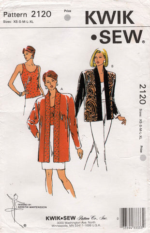 Kwik Sew 2120 Womens Stretch Tank Top & Jacket 1990s Vintage Sewing Pattern Size XS - XL UNCUT Factory Folded