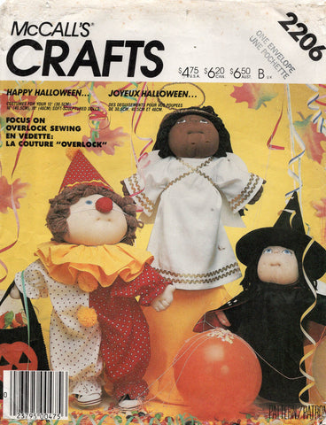 McCall's 2206 Cabbage Patch Dolls Angel Witch & Clown Costumes 12, 16 & 18 Inch Dolls Clothes 1980s Vintage Sewing Pattern UNCUT Factory Folded