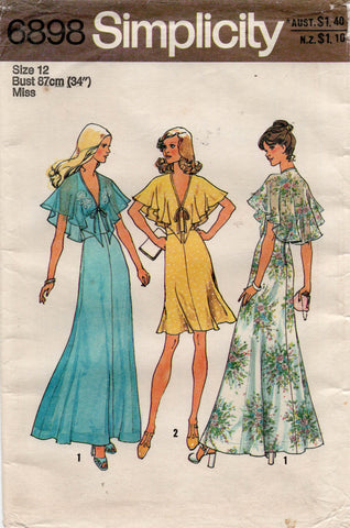 Simplicity 6898 Womens Halter Dress or Maxi Evening Gown with Capelet Sleeves 1970s Vintage Sewing Pattern Size 12 UNCUT Factory Folded