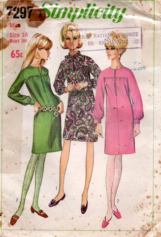 Simplicity 7297 Womens Kimono Sleeved Shift Dress 1960s Vintage Sewing Pattern Size 16 Bust 36 inches UNCUT Factory Folded