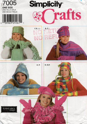 Simplicity 7005 Womens Polar Fleece Winter Hats Scarves Mittens Gloves Out Of Print Sewing Pattern UNCUT Factory Folded