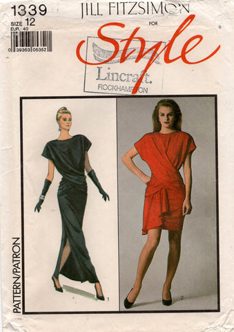 Style 1339 JILL FITZSIMON Womens Draped Wrap Top & Skirt 1980s Vintage Sewing Pattern Size 12 UNCUT Factory Folded