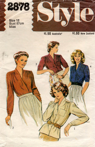 Style 2878 Womens Wrap or Button Front Blouses 1970s Vintage Sewing Pattern Size 12 Bust 34 inches