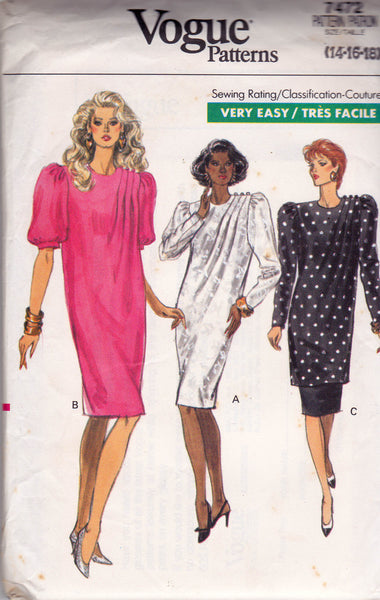 1980s Vogue 7472 Vintage Sewing Pattern Draped Pleated Dress Tunic & Skirt Size 14 16 18 Bust 36 38 40 inches UNCUT Factory Folded