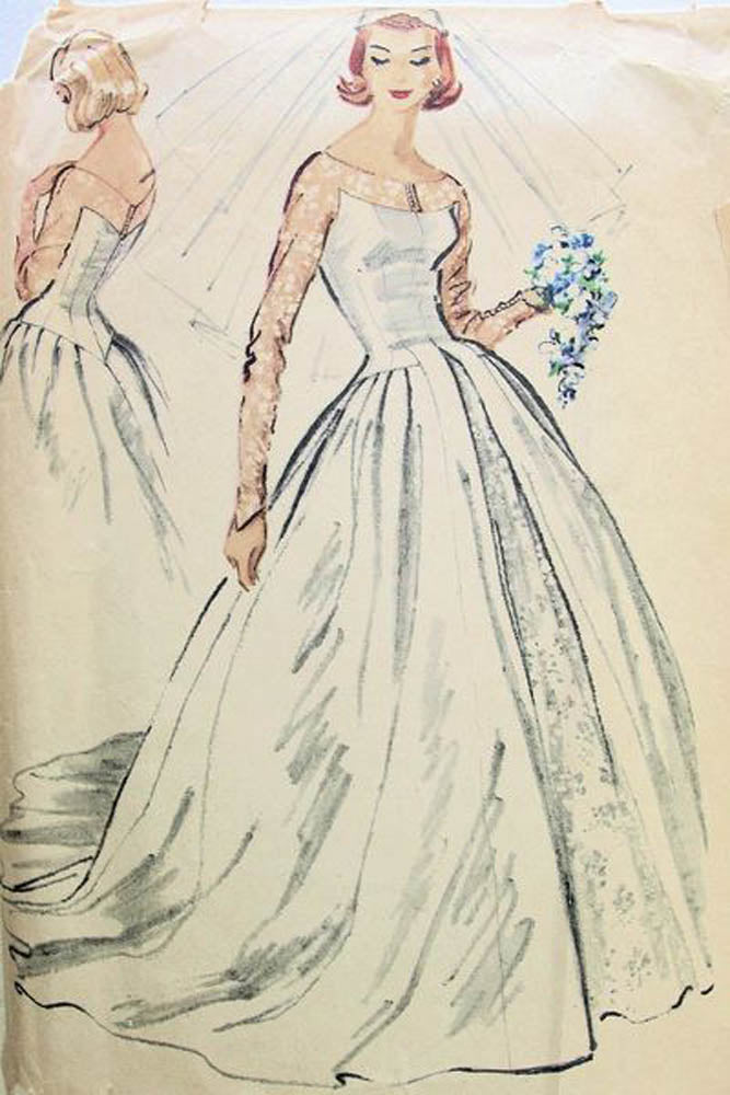 McCalls 4358 Womens Wedding Dress Grace Kelly Style Bridal Gown With Train 50s Vintage Sewing Pattern