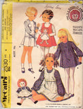 McCall's 2530 Girls Dress & Jumper RAGGEDDY ANN Transfer included 70s Vintage Sewing Pattern Size 4 or 6