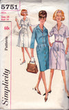 1960s Shirtdress Pattern Simplicity 5751 Plus Size Vintage Sewing Pattern Size 18 Bust 38 inches