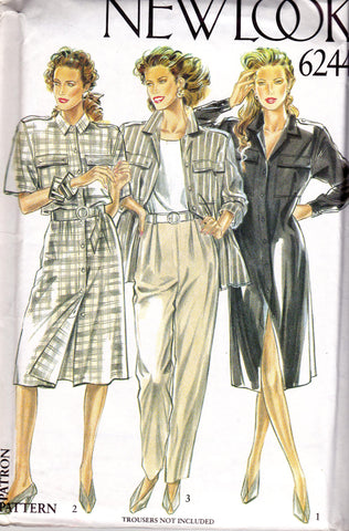 New Look 6244 Womens Shirt & Shirtdress 90s Vintage Sewing Pattern Size 8 10 12 14 16 18 UNCUT Factory Folded