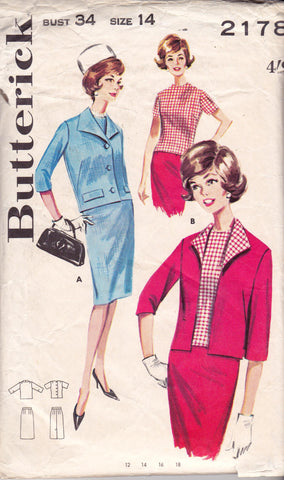 Butterick 2178 Womens MOD Skirt Suit & Blouse 1960s Vintage Sewing Pattern Size 14 Bust 34 Inches